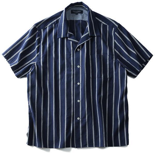 大きいサイズ メンズ SARTORIA BELLINI シャツ 半袖 ドビーストライプ オープンカラーシャツ azsh-180238