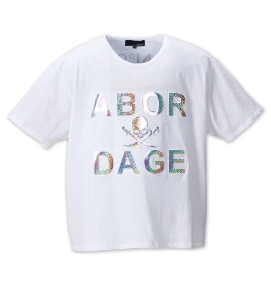 大きいサイズ メンズ ABORDAGE エンボス 加工 ホログラム 箔 半袖 Tシャツ 半袖Tシャツ ホワイト 1158-8585-1 3L 4L 5L 6L
