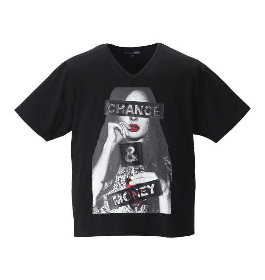大きいサイズ メンズ ABORDAGE ガールズフォト & ラインストーン 半袖 Vネック Tシャツ 半袖Tシャツ ブラック 1158-8586-2 3L 4L 5L 6L