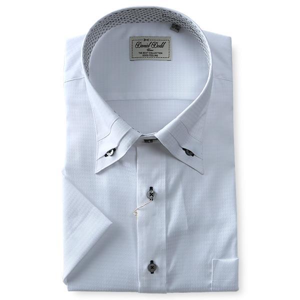 2点目半額 大きいサイズ メンズ DANIEL DODD 半袖 Yシャツ 半袖 ワイシャツ マイター ボタンダウン ストレッチ 形態安定 d584az103