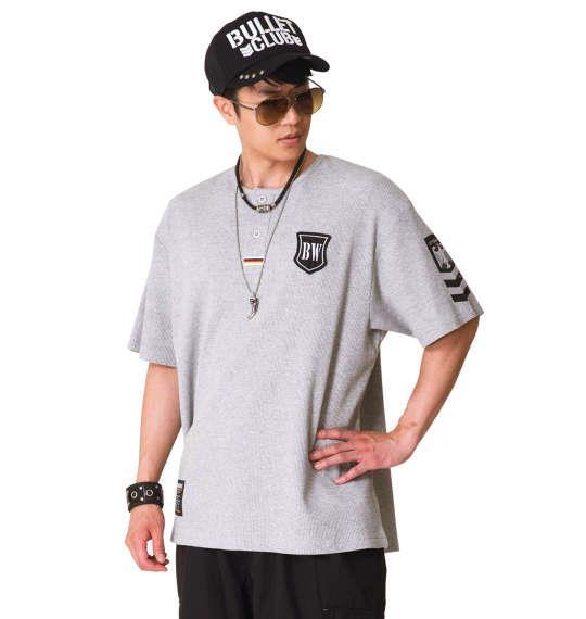 大きいサイズ メンズ BUNDESWEAR  ワッフル 半袖 ヘンリー Tシャツ モクグレー 1168-8240-1 3L 4L 5L 6L 8L
