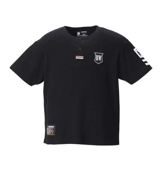 大きいサイズ メンズ BUNDESWEAR  ワッフル 半袖 ヘンリー Tシャツ ブラック 1168-8240-2 3L 4L 5L 6L 8L
