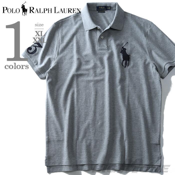 大きいサイズ メンズ POLO RALPH LAUREN ポロ ラルフローレン 半袖 ビッグポニー 鹿の子 ポロシャツ グレー XL XXL USA 直輸入 710697457005