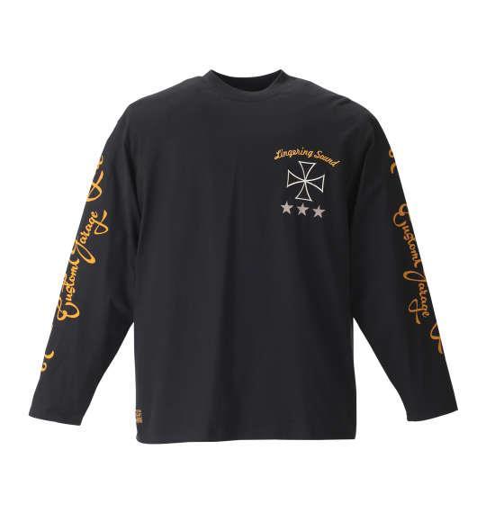 大きいサイズ メンズ FLAGSTAFF  刺繍 &プリント 長袖 Tシャツ 長袖Tシャツ ブラック 1158-8630-1 3L 4L 5L 6L