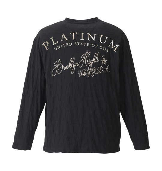 大きいサイズ メンズ GLADIATE リンクス ジャガード 刺繍 長袖 Vネック Tシャツ 長袖Tシャツ ブラック 1158-8640-1 3L 4L 5L 6L