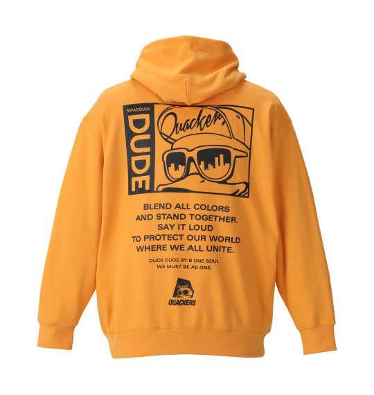大きいサイズ メンズ b-one-soul DUCK DUDE 箔 プリント プルパーカー 長袖 パーカー マンダリン 1158-8663-1 3L 4L 5L 6L