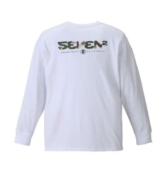 大きいサイズ メンズ SEVEN2 カモフラロゴ長袖 Tシャツ 長袖Tシャツ ホワイト 1168-8300-1 3L 4L 5L 6L