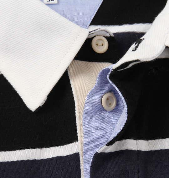 大きいサイズ メンズ H by FIGER 長袖 ボーダー ラガーシャツ ブラック × ネイビー 1168-8320-2 3L 4L 5L 6L 8L