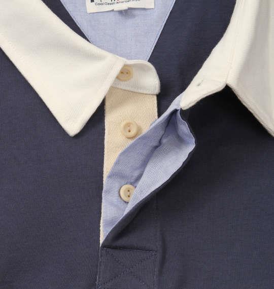 大きいサイズ メンズ H by FIGER 長袖 ラガーシャツ ネイビー 1168-8321-1 3L 4L 5L 6L 8L