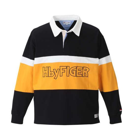大きいサイズ メンズ H by FIGER 長袖 ラガーシャツ ブラック 1168-8321-2 3L 4L 5L 6L 8L