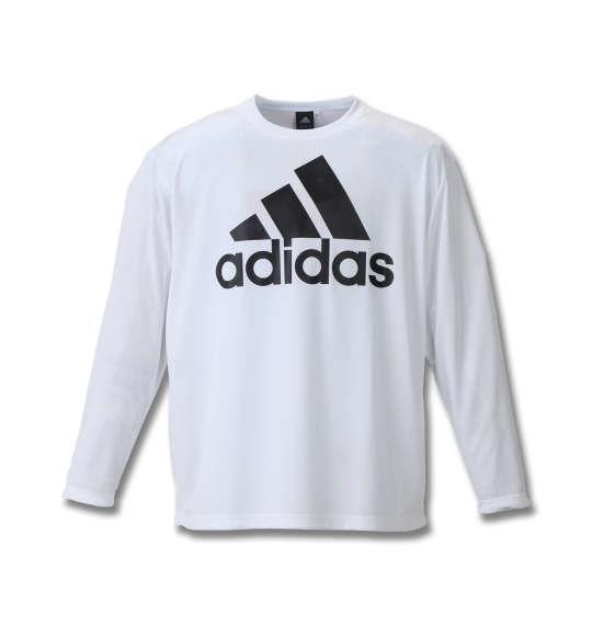 大きいサイズ メンズ adidas 長袖Tシャツ ホワイト 1178-8350-1 3XO 4XO 5XO 6XO 7XO 8XO