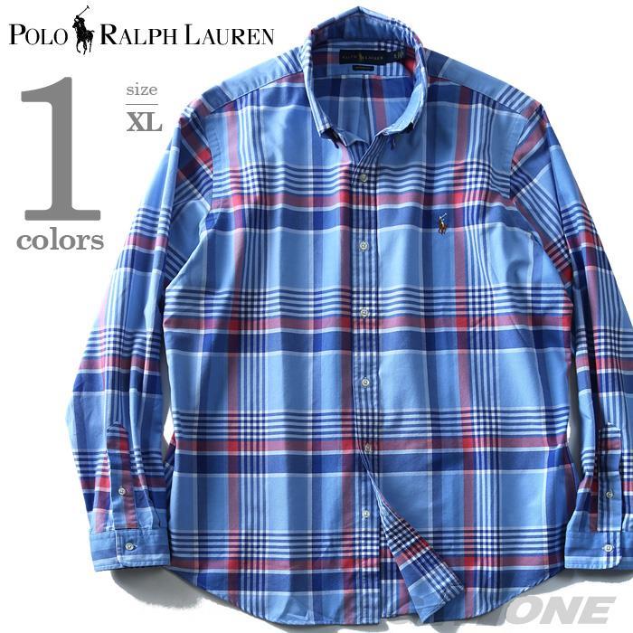 大きいサイズ メンズ POLO RALPH LAUREN ポロ ラルフローレン チェック柄 長袖 シャツ ボタンダウンシャツ 長袖シャツ カジュアルシャツ ブルー XL USA 直輸入 710718716005