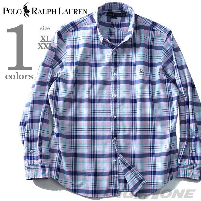 大きいサイズ メンズ POLO RALPH LAUREN ポロ ラルフローレン チェック柄 長袖 シャツ ボタンダウンシャツ 長袖シャツ カジュアルシャツ ピンク XL XXL USA 直輸入 710708869002
