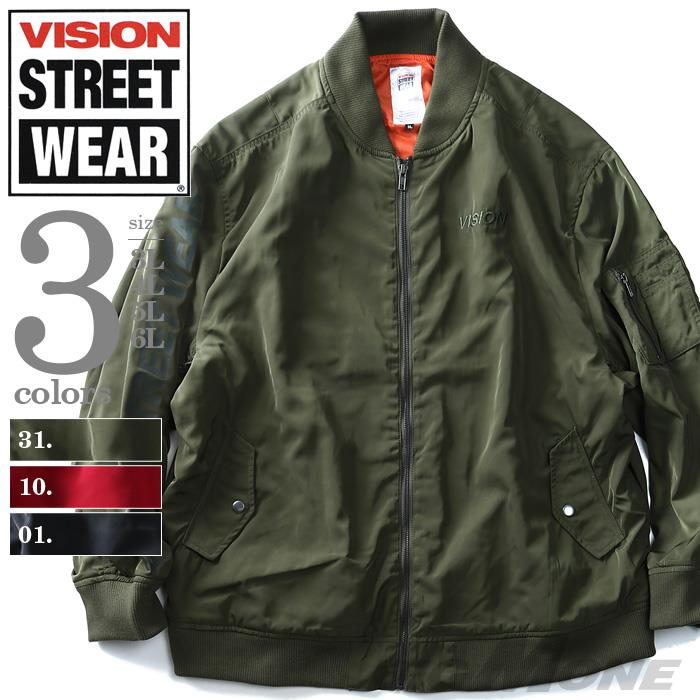 大きいサイズ メンズ VISION STREET WEAR バックプリント付 MA-1 ジャケット アウター 8704100