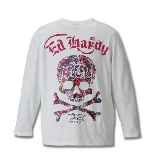 大きいサイズ メンズ Ed Hardy 天竺プリント長袖Tシャツ オフホワイト 1178-8630-1 3L 4L 5L 6L