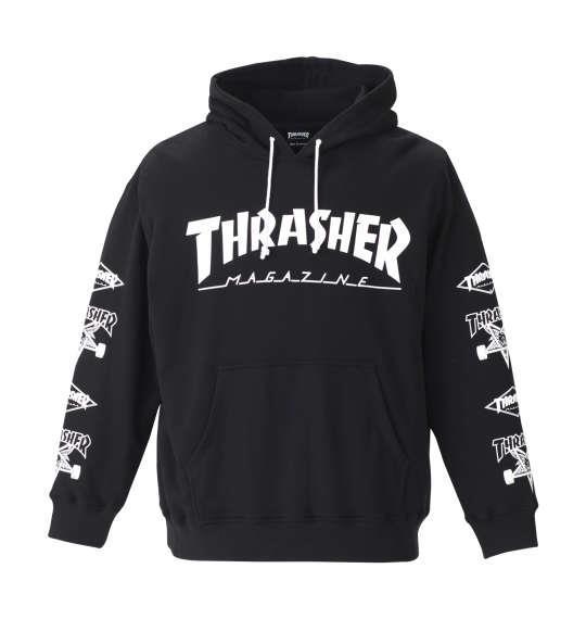大きいサイズ メンズ THRASHER プルパーカー ブラック 1178-8601-2 3L 4L 5L 6L 8L
