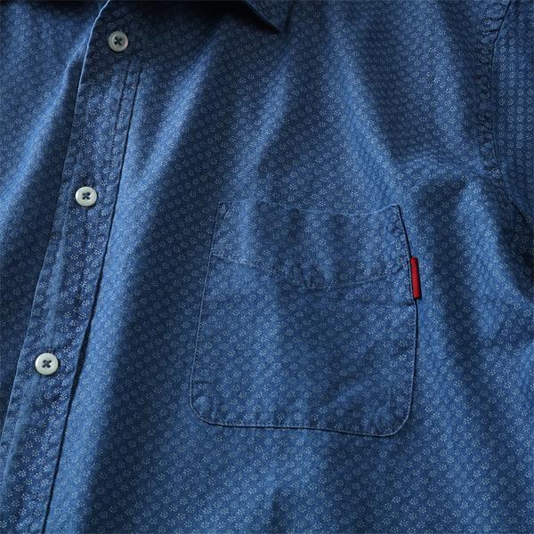 大きいサイズ メンズ DREAM MASTER ドリームマスター 長袖 シャツ カジュアルシャツ 小花 プリント インディゴシャツ 秋冬 新作 dm-hlf9212