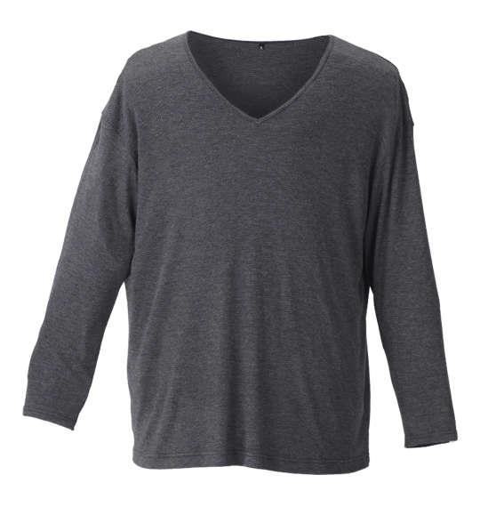大きいサイズ メンズ Heatchanger 長袖 Vネック Tシャツ 長袖Tシャツ ブラック 1149-8320-2 3L 4L 5L 6L 8L