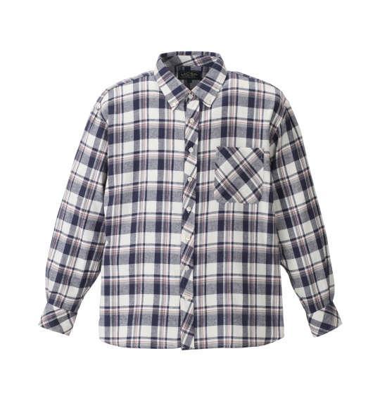 大きいサイズ メンズ Mc.S.P チェック 長袖 シャツ ボタンダウンシャツ ネルシャツ 長袖シャツ  オフホワイト × ネイビー 1157-8303-1 3L 4L 5L 6L 8L