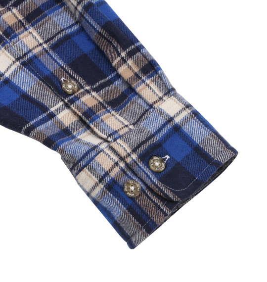 大きいサイズ メンズ OUTDOOR PRODUCTS 異素材 切替 チェック 長袖 シャツ ボタンダウンシャツ ネルシャツ 長袖シャツ ブルー系 1157-8320-2 3L 4L 5L 6L 8L