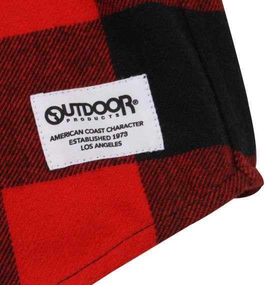 大きいサイズ メンズ OUTDOOR PRODUCTS ブロック チェック 長袖 シャツ ボタンダウンシャツ ネルシャツ 長袖シャツ レッド × ブラック 1157-8321-1 3L 4L 5L 6L 8L
