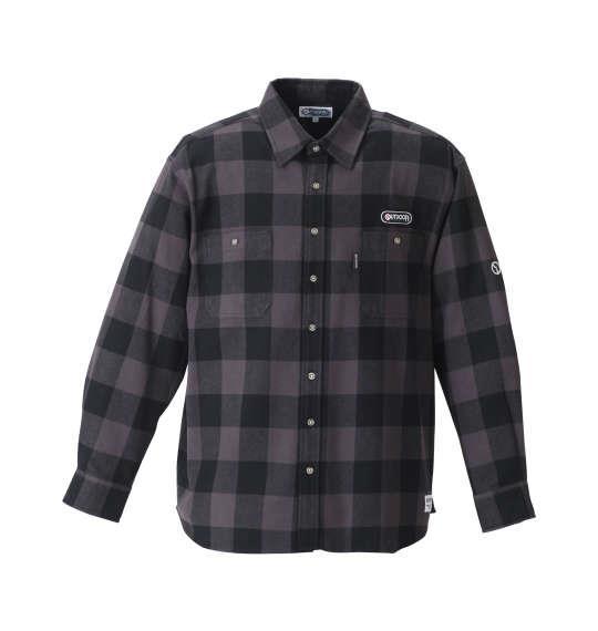 大きいサイズ メンズ OUTDOOR PRODUCTS ブロック チェック 長袖 シャツ ボタンダウンシャツ ネルシャツ 長袖シャツ チャコール × ブラック 1157-8321-2 3L 4L 5L 6L 8L