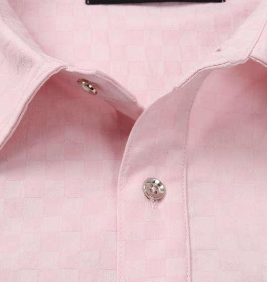 大きいサイズ メンズ GLADIATE ブロック ジャガード 刺繍 長袖 シャツ 長袖シャツ ピンク 1157-8335-1 3L 4L 5L 6L