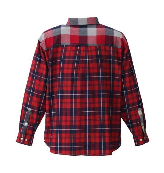 大きいサイズ メンズ H by FIGER クレイジー チェック 長袖 シャツ ボタンダウンシャツ ネルシャツ レッド系 1167-8350-1 3L 4L 5L 6L 8L