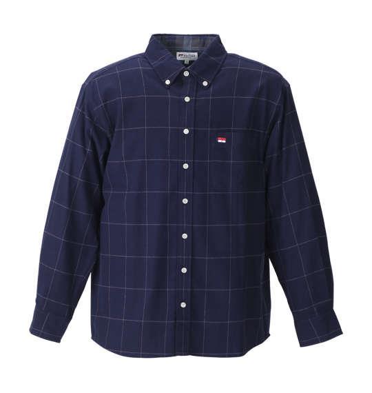 大きいサイズ メンズ H by FIGER 長袖 シャツ ボタンダウンシャツ ネルシャツ ネイビーウインドペン 1167-8351-2 3L 4L 5L 6L 8L