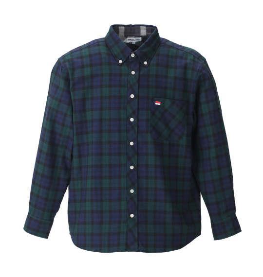 大きいサイズ メンズ H by FIGER 長袖 シャツ ボタンダウンシャツ ネルシャツ ブラックウォッチ 1167-8351-4 3L 4L 5L 6L 8L