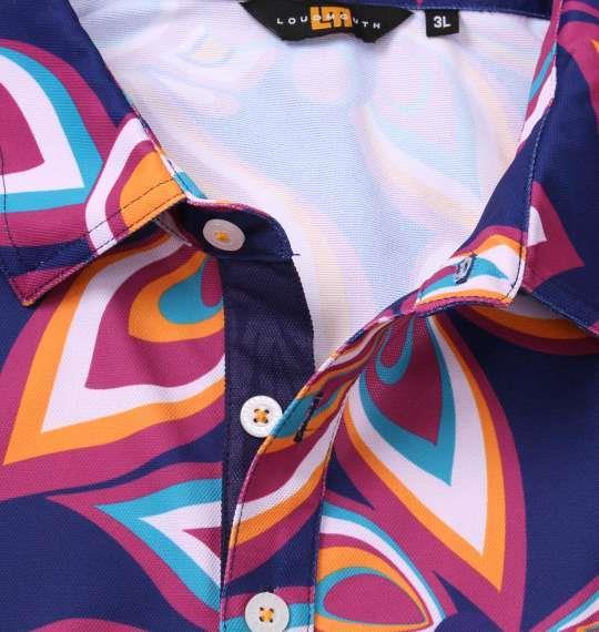 大きいサイズ メンズ LOUDMOUTH 半袖シャツ+インナーセット シャガデリックパープル × ネイビー 1178-8610-2 3L 4L 5L