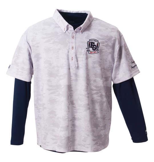 8e91fa365ef39 大きいサイズ メンズ FILA GOLF カモ柄半袖シャツ+インナーセット ホワイト × ネイビー 1178