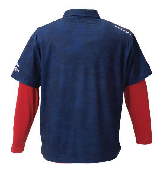 大きいサイズ メンズ FILA GOLF カモ柄半袖シャツ+インナーセット ネイビー × レッド 1178-8360-2 3L 4L 5L 6L