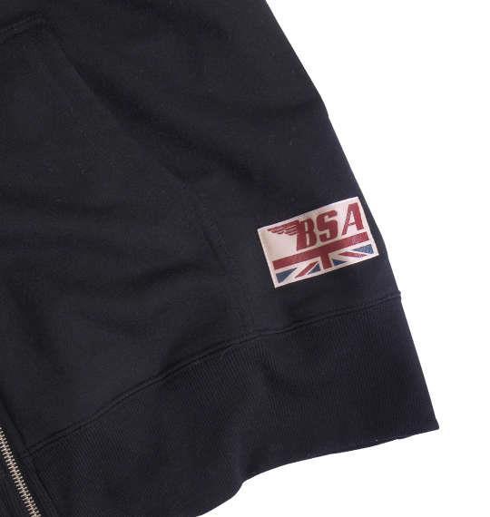 大きいサイズ メンズ BSA MOTORCYCLES 裏毛 マルチ刺繍 & プリント フルジップパーカー 長袖 パーカー ブラック 1168-8371-2 3L 4L 5L 6L