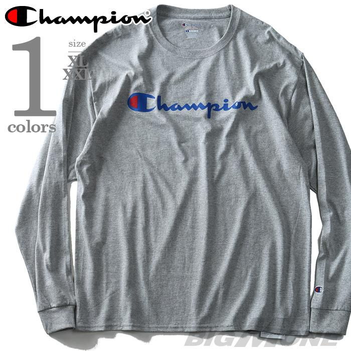 大きいサイズ メンズ Champion チャンピオン 長袖 Tシャツ ロンT プリント ロングTシャツ USA 直輸入 t2229p