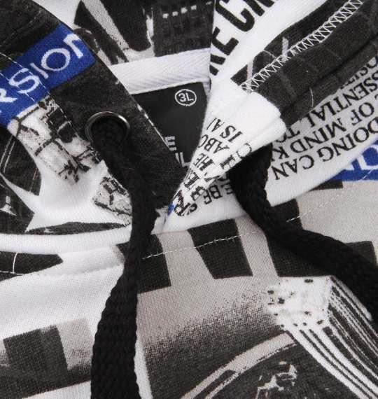 大きいサイズ メンズ b-one-soul Photo 総柄 プルパーカー 長袖 パーカー ブラック × ブルー 1158-8667-2 3L 4L 5L 6L