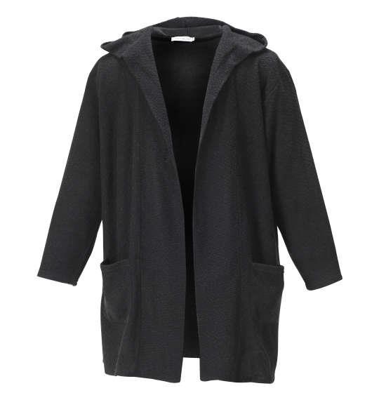 大きいサイズ メンズ launching pad 甘編み ループヤーン フーディガン + 長袖Tシャツ セット アンサンブル ブラック × ホワイト 1158-8340-2 3L 4L 5L 6L
