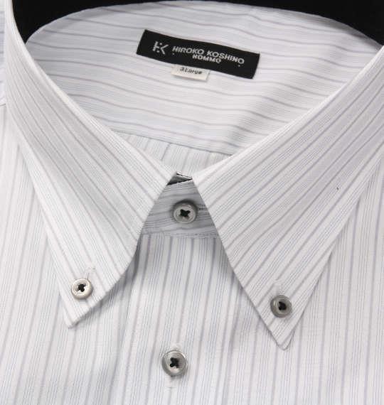 大きいサイズ メンズ HIROKO KOSHINO HOMME B.D長袖シャツ ホワイト × グレー 1177-8318-1 3L 4L 5L 6L 7L 8L