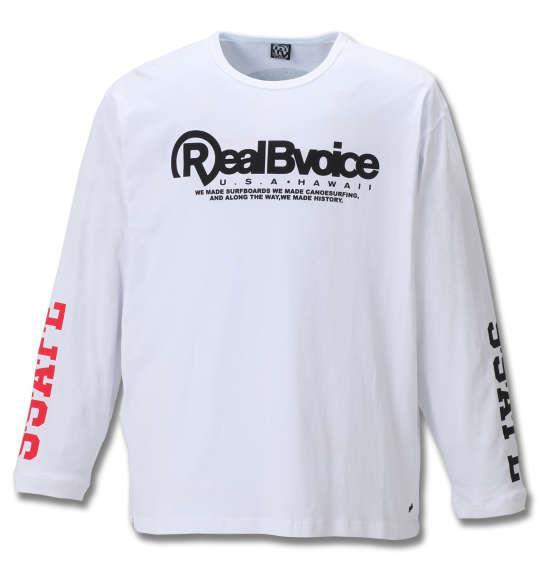 大きいサイズ メンズ RealBvoice FLAG長袖Tシャツ ホワイト 1178-8640-1 3L 4L 5L 6L