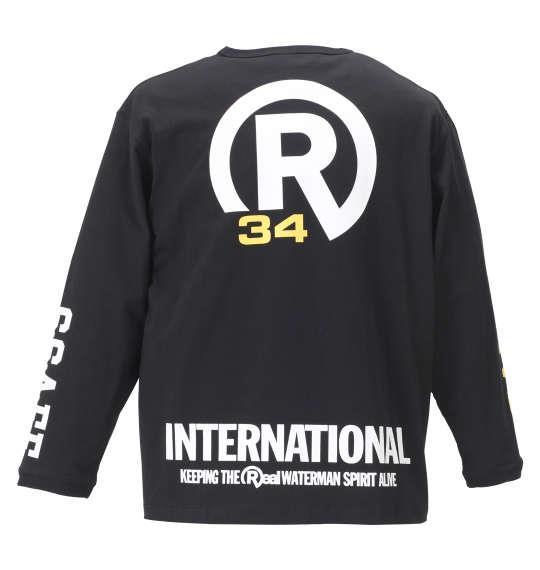 大きいサイズ メンズ RealBvoice FLAG長袖Tシャツ ブラック 1178-8640-2 3L 4L 5L 6L