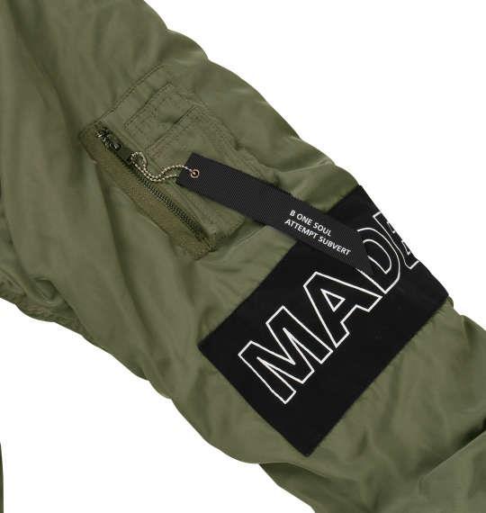 大きいサイズ メンズ b-one-soul フォトワッペン MA-1 ジャケット アウター オリーブ 1153-8340-1 3L 4L 5L 6L