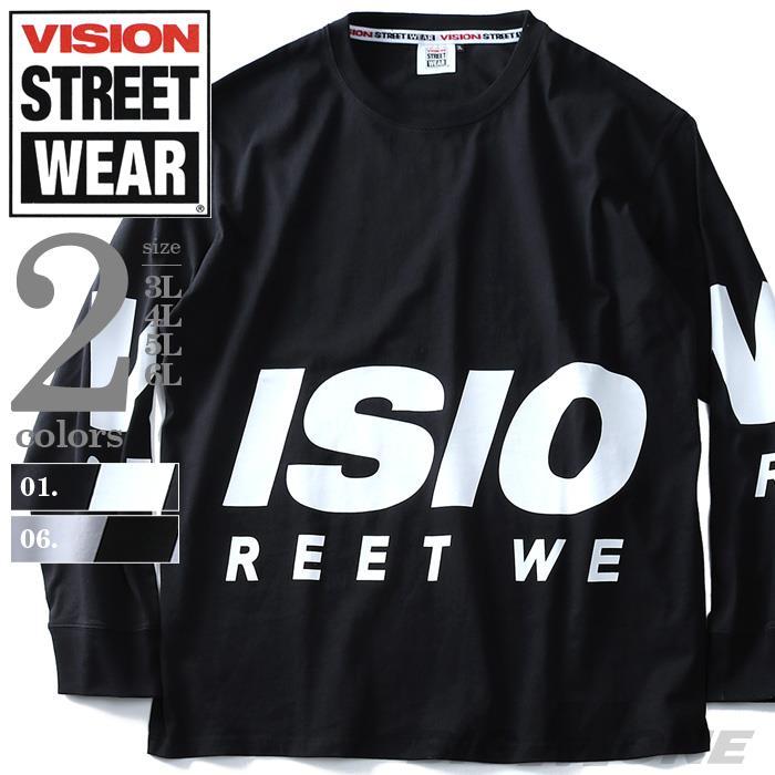 大きいサイズ メンズ VISION STREET WEAR BIG ロゴ ロングTシャツ 長袖 Tシャツ ロンT 8704119