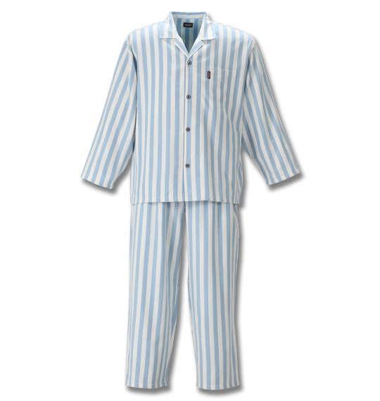 大きいサイズ メンズ marie claire homme DRY ツイル 起毛 ストライプ 長袖 パジャマ オフホワイト × ブルー 1159-8353-1 3L 4L 5L 6L 8L