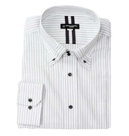 大きいサイズ メンズ HIROKO KOSHINO HOMME ドゥエマイターB.D長袖シャツ ホワイト × ブラック 1177-9150-1 3L 4L 5L 6L 7L 8L