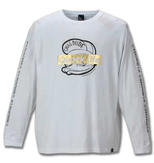 大きいサイズ メンズ b-one-soul DUCK DUDE 長袖Tシャツ ホワイト 1158-9100-1 3L 4L 5L 6L