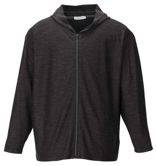 大きいサイズ メンズ launching pad AB 杢 スラブ ミニ 裏毛 フルジップパーカー + 半袖Tシャツ セット アンサンブル ブラック杢 × ホワイト 1158-9110-2 3L 4L 5L 6L