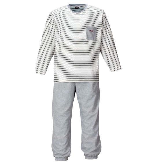 大きいサイズ メンズ marie claire homme ダンボール ボーダー 長袖 Tシャツ 上下セット セットアップ オフホワイト × モクグレー 1159-9102-1 3L 4L 5L 6L 8L