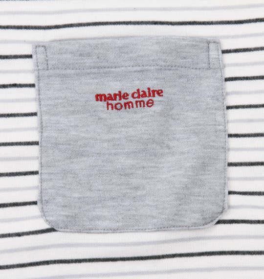 大きいサイズ メンズ marie claire homme ダンボールボーダー長袖Tシャツセット オフホワイト × モクグレー 1159-9102-1 3L 4L 5L 6L 8L