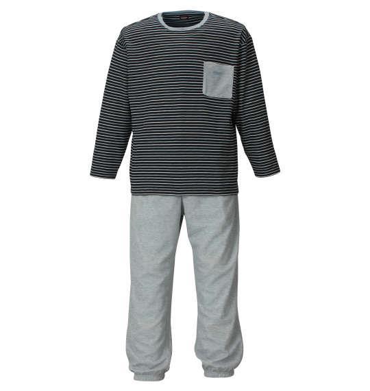 大きいサイズ メンズ marie claire homme ダンボールボーダー長袖Tシャツセット ネイビー × モクグレー 1159-9102-2 3L 4L 5L 6L 8L