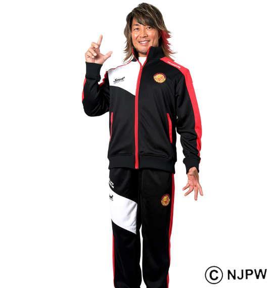 大きいサイズ メンズ SOUL SPORTS × 新日本プロレス 長袖ジャージセット ブラック × レッド 1176-9160-2 3L 4L 5L 6L